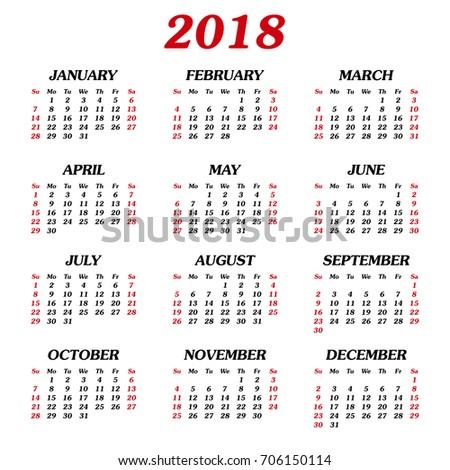 whole year calendar 2018