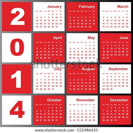 Annual calendar design for 2014. English, Eps10, Sunday to Saturday. - stock vector