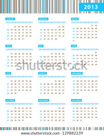 Annual Calendar for 2013 Year with blue stripes texture - stock vector