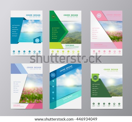 Annual report brochure flyer design template vector, Set of leaflet cover presentation nature landscape background, layout in A4 size - stock vector