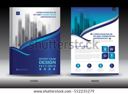 Annual Report Brochure Flyer Template Blue Stock Vector 576395485