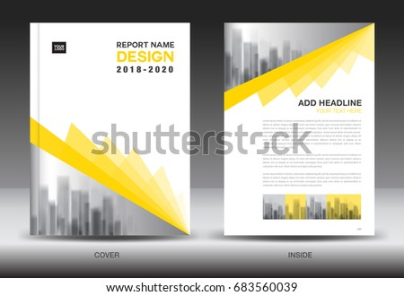 Annual Report Brochure Flyer Template, Yellow Cover Design, Business  Advertisement, Magazine Ads,  Advertising Brochure Template