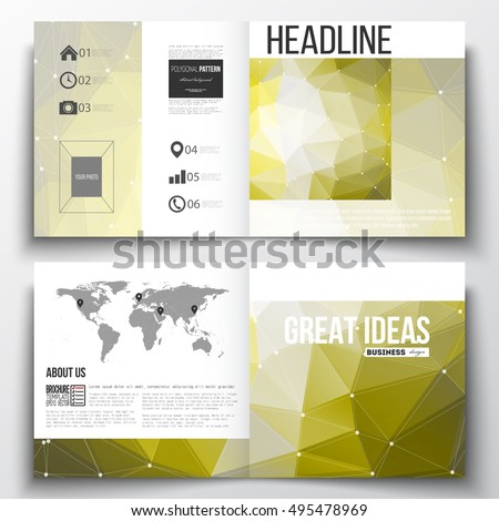Annual report business templates for brochure, magazine, flyer. Molecular construction, connected lines and dots, scientific pattern on abstract colorful polygonal background, triangular texture