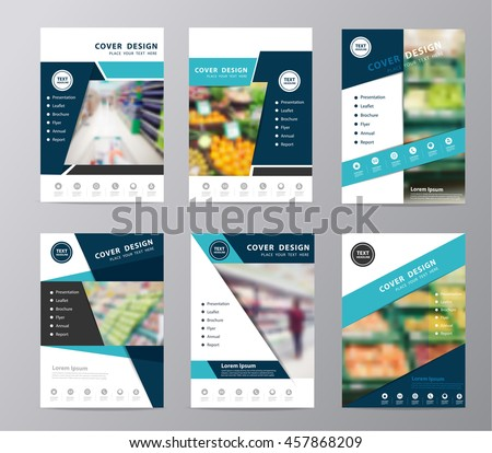 Annual report cover layout template vector set, With idea concept supermarket in blurred background in A4 size