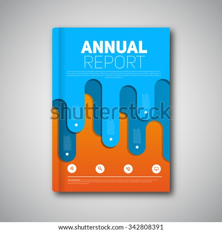 Annual Report Flyer, Modern original design, Vector template for magazine covers, brochures with curved lines - stock vector