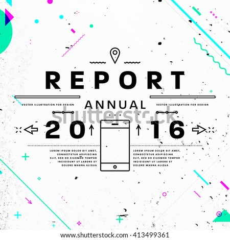 Annual Report Typographic Label Concept. Thin Line Flat Style for Business Logo, Posters, Placards, Presentations and Websites Design. Concrete Wall Texture - stock vector