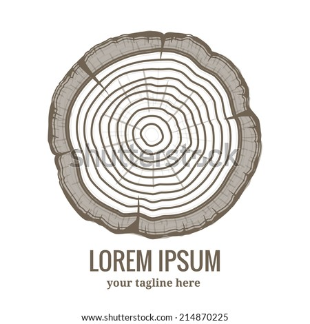Annual tree growth rings logo icon with greyscale vector drawing of the cross-section of a tree trunk with copyspace fot text below - stock vector