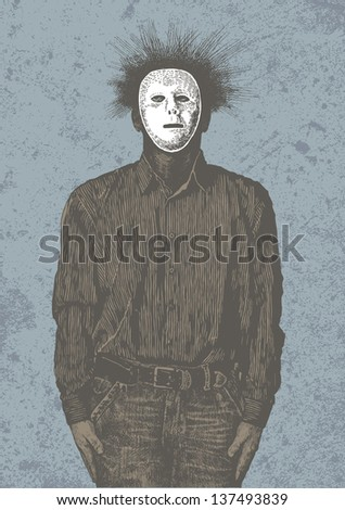 Anonymous man in mask. vector illustration - stock vector