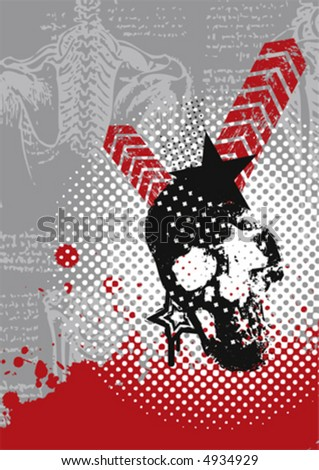 another grungy vector skull - stock vector
