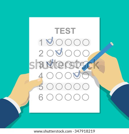 Answers to exam test answer sheet with pencil and student hand. Flat style vector illustration isolated on white background. - stock vector