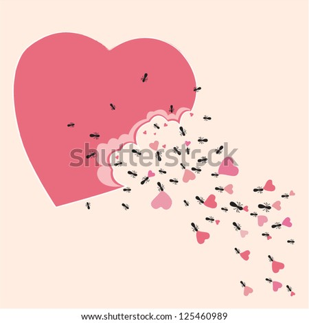 Ant parade with sweet heart - stock vector