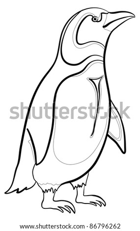 Antarctic emperor penguin, black contours on white background. Vector