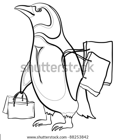 Antarctic emperor penguin with bags goes to the store to shop. Contours. Vector - stock vector