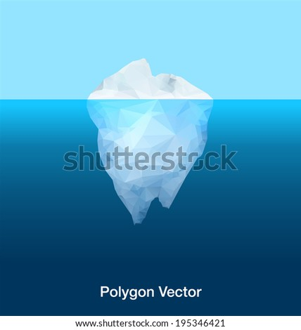Antarctic iceberg in the ocean.  Abstract polygon vector - stock vector