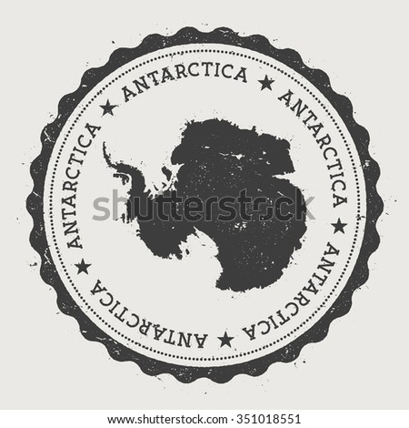 Antarctica. Hipster round rubber stamp with Antarctica map. Vintage passport stamp with circular text and stars, vector illustration - stock vector