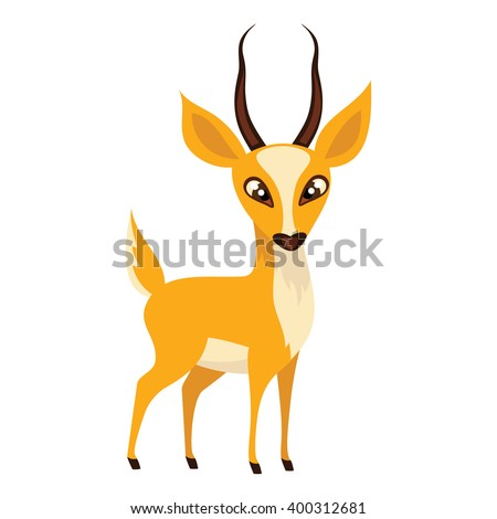 Antelope isolated on white background. African animal antelope in a cartoon style. Vector illustration.