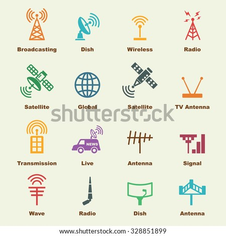 antenna and satellite elements, vector infographic icons - stock vector