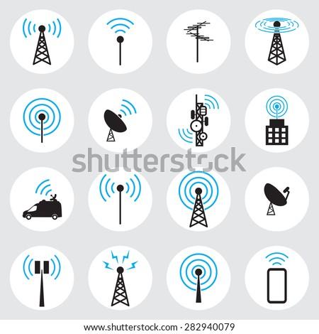 Antenna icon set - stock vector