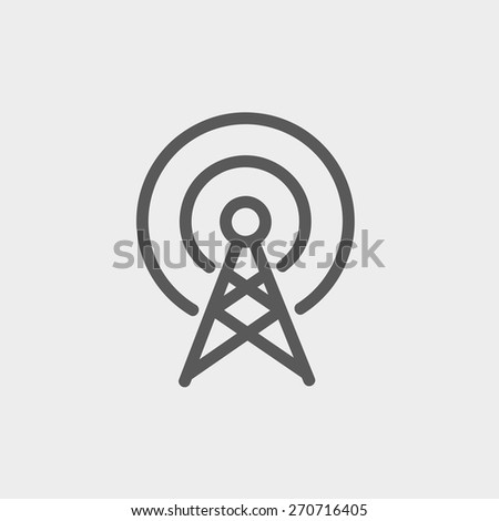Antenna icon thin line for web and mobile, modern minimalistic flat design. Vector dark grey icon on light grey background. - stock vector