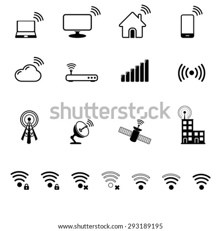 Antenna, radio signal icon set - stock vector