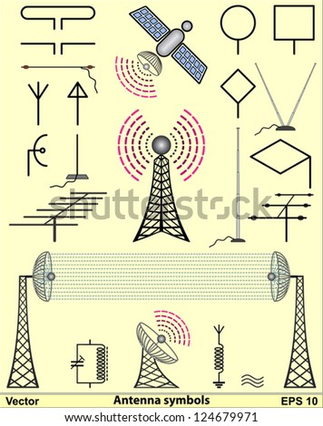 Antenna symbols - stock vector
