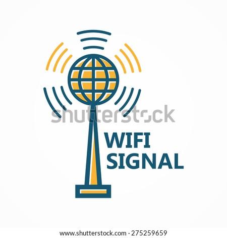 Antenna tower icon or logo - stock vector