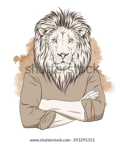 Anthropomorphic lion standing with hands crossed on his chest over watercolor background. Sepia tonned illustration. Vector - stock vector