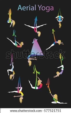 anti gravity yoga vector illustration  aerial yoga training  girl in hammock doing fly antigravity yoga vector illustration aerial yoga stock vector      rh   shutterstock
