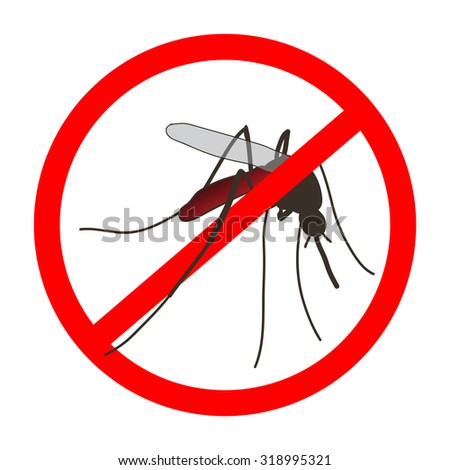 Anti mosquito sign with a realistic mosquito. Mosquito silhouette. Sign anti-Mosquito isolated  on white background. no mosquito. stop mosquito. Vector illustration - stock vector
