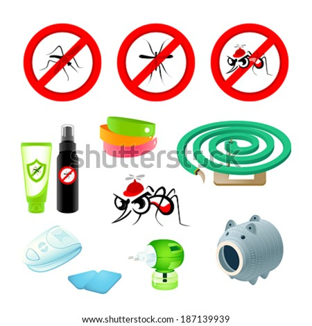 Anti-mosquito symbols, repellents and devices - stock vector