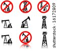 Anti oil drilling graphics. - stock vector