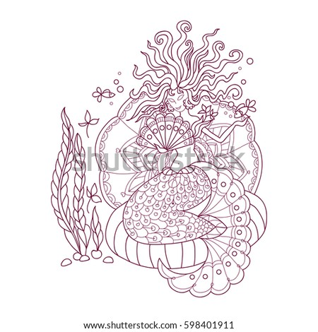 anti stress coloring pages for adult with doodle elements nautical theme mermaid