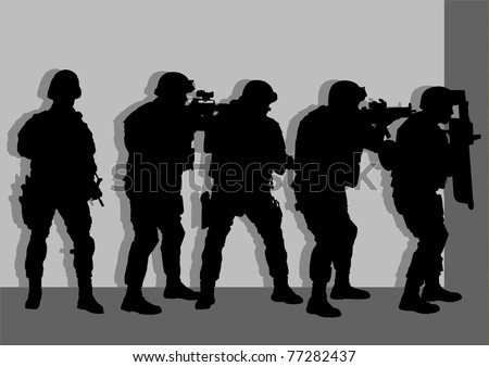 Anti terror force team sneaking behind wall - stock vector