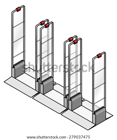 Anti-theft sensor gates commonly installed in shops/stores. Three gates in a row.  - stock vector