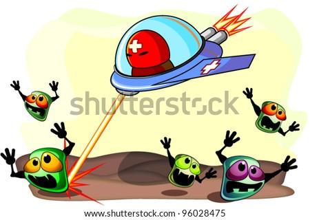 Antibacterial action - stock vector