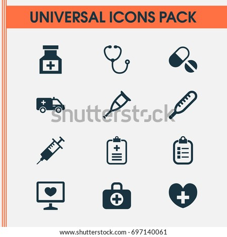 Antibiotic Icons Set. Collection Of Pills, Diagnosis, First-Aid And Other Elements. Also Includes Symbols Such As Nurse, Ache, Spike.