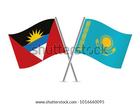 Antigua and Barbuda and Kazakhstan flags. Vector illustration.