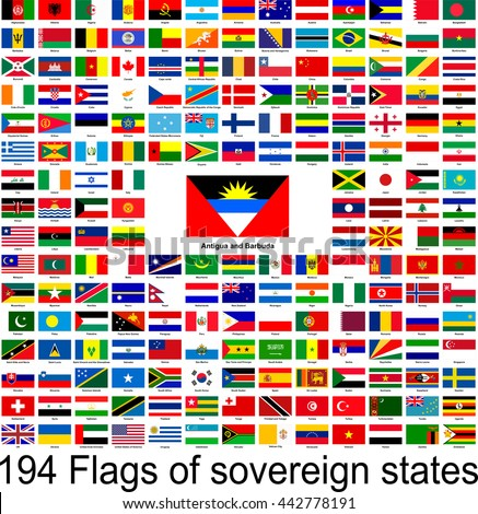Antigua and Barbuda, collection of vector images of flags of the world