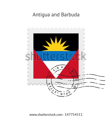 Antigua and Barbuda Flag Postage Stamp on white background. Vector illustration.