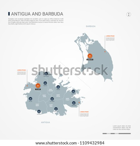 Antigua Barbuda Borders Cities Capital Administrative Stock Vector