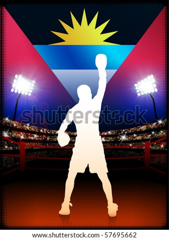 Antigua Flag with Boxer on Stadium Background Original Illustration - stock vector