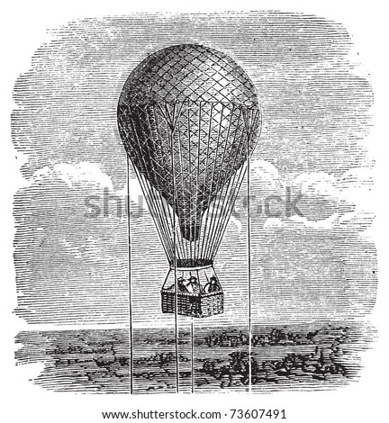 Antique aerostat or hot air balloon vintage illustration. Old engraving of a hot air balloon up in the sky, attached by ropes.