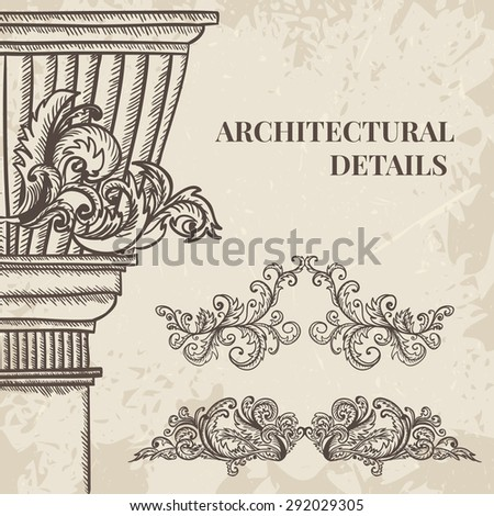antique and baroque cartouche ornaments and classic style column vector set. Vintage architectural details design elements on grunge background in sketch style - stock vector