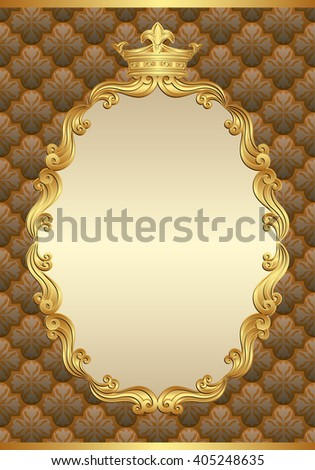 antique background with royal frame - stock vector