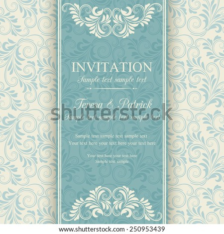 Antique baroque invitation, blue on beige background - stock vector