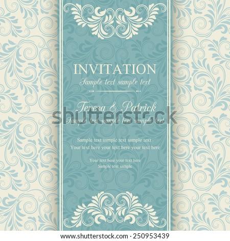 Antique baroque invitation, blue on beige background - stock vector