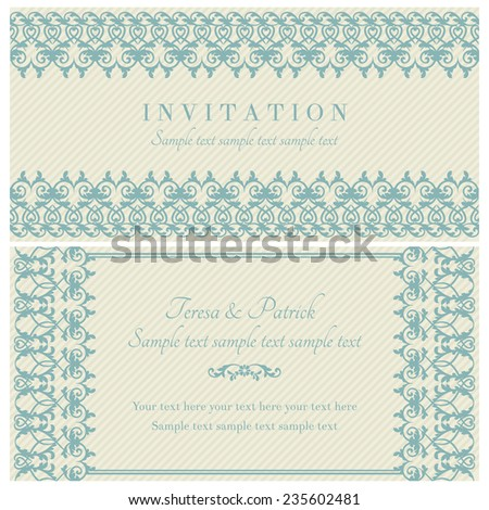 Antique baroque invitation card in old-fashioned style, blue and beige