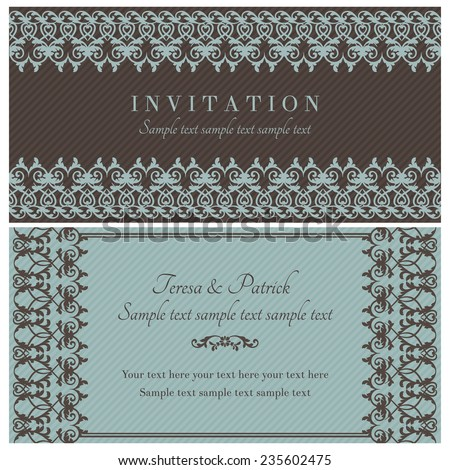 Antique baroque invitation card in old-fashioned style, brown and blue