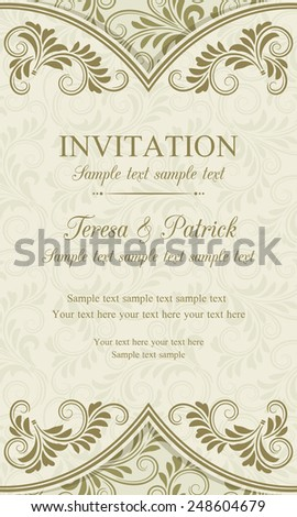 Antique baroque invitation vertical, gold on beige background - stock vector