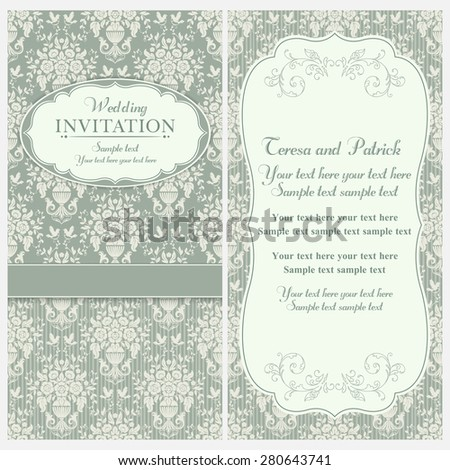 Antique baroque wedding invitation, birds and flowers, green and beige